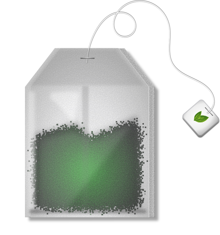 Mint Tea Bag by Merlin2525 - A simple mint tea bag. NOTE: This image uses Inkscape filters, if the tea inside the bag  does not render properly please use Inkscape to generate the png. Licence: Public Domain. P.S. Thanks to doctormo for the mint leaves! https://openclipart.org/people/doctormo/mint.svg