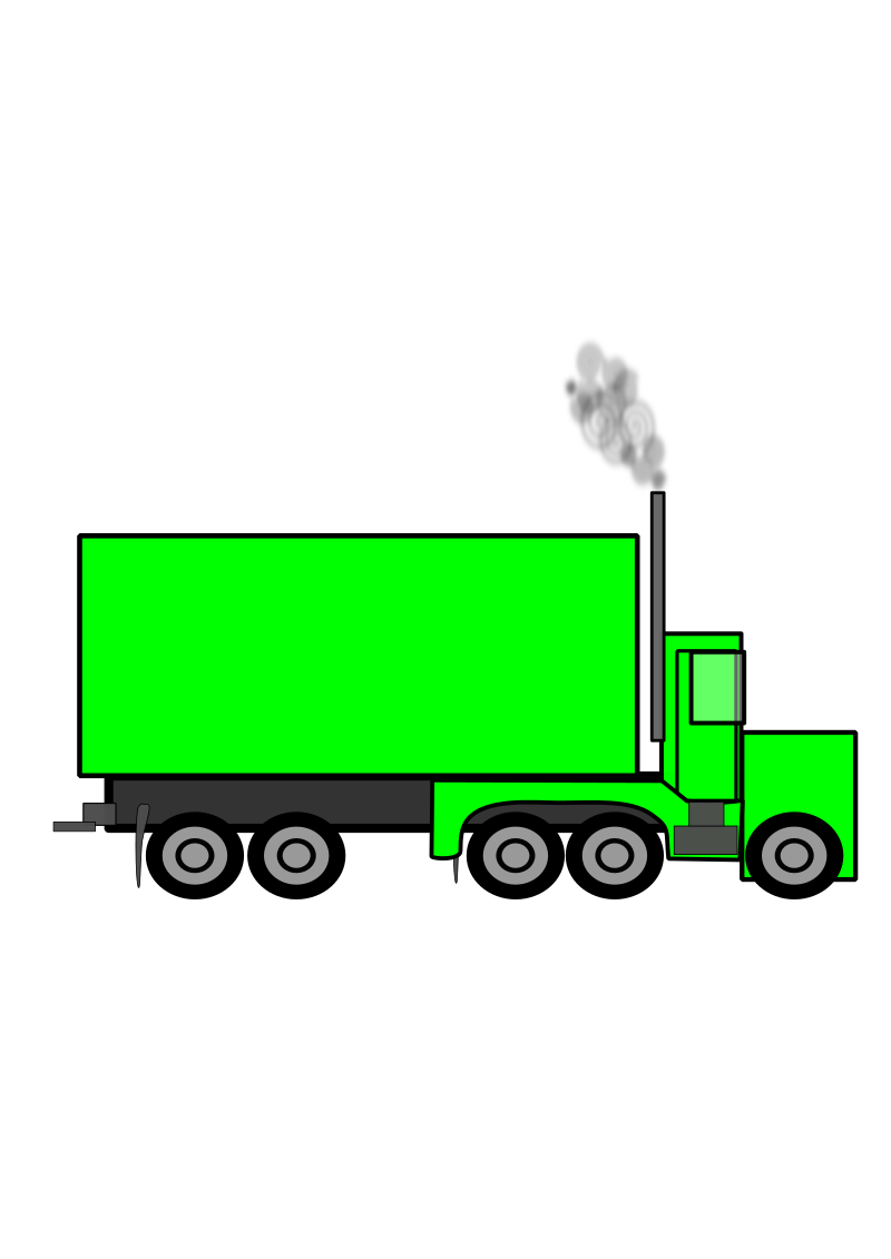 Semi Truck by JonathanBenning - A mostly green Semi-Truck. It's isn't to scale.  It is my first vector object I created.  I hope it's usefull, or just funny to look at.