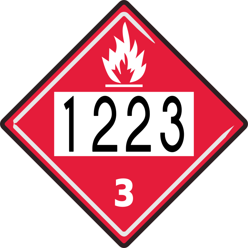 "Flammable Sign (request completed) by cyberscooty - Truck sign warning that the contents of the vehicle are flammable. Showing Kerosene hazard ""hazmat"" number."