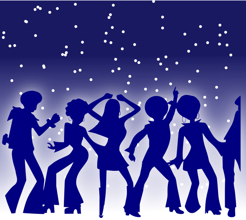 Disco Dancers by eeyrsja - Silhouette of dancers with starlit backdrop