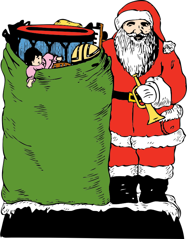santa and his bag by johnny_automatic - Santa Claus with his big bag of toys from a U.S. patent drawing