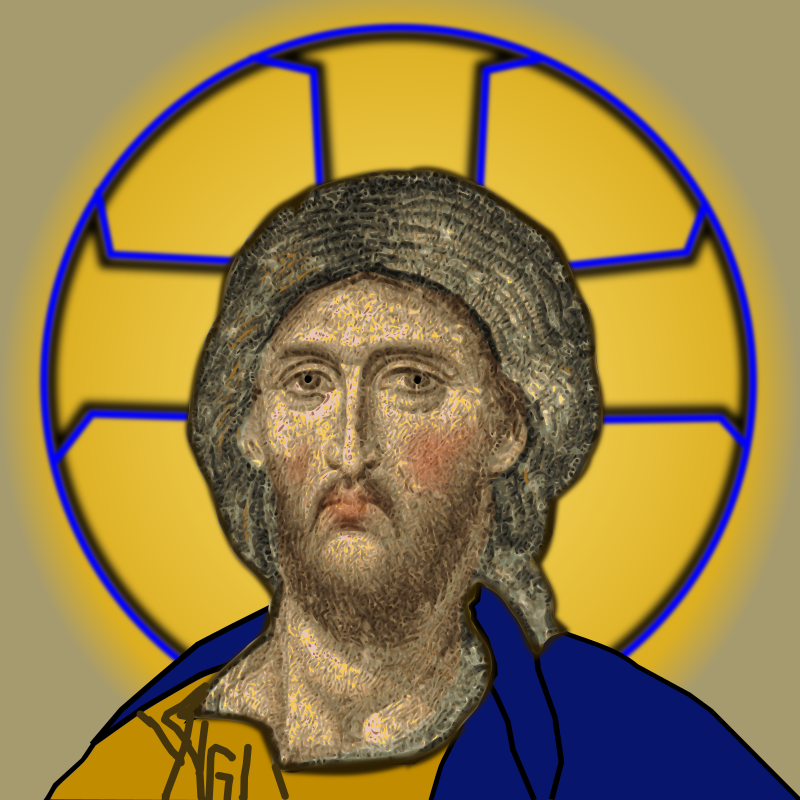 Hagia-Sophia Christ II by gubrww2 - Filled requested clip art to cleanup Hagia Sophia Christ mosaic. I fixed the distorted perspective of the original and completed the cropped off halo. The flesh is auto-scanned, the rest is hand drawn.