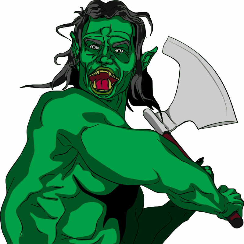 Fantasy Orc Swinging Axe by jpneok - This orc, troll, ogre, bugbear or whatever other fantasy name you want to call it, swinging a big battle axe in combat, is like everything else here, a free Open Clip Art, usable for any purpose! If you have time and the format you use it in allows a link or credit, I'd appreciate it, and maybe getting to see what you did with it, but I don't require it. Enjoy!