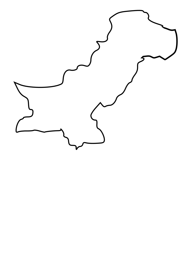 Black outline map of Pakistan by taughtware - This is an outline map of Islamic Republic of Pakistan.