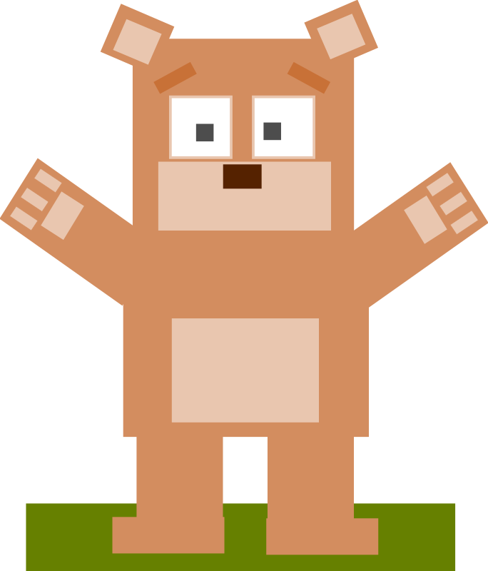 Square animal cartoon bear by Dog99x - This cartoon is made only with squares (somewhat), the 9th is a bear, hope you like it!