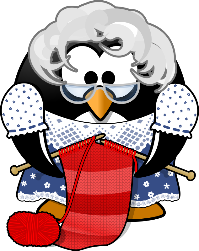 Grandma Penguin by Moini - This is grandma Penguin. She loves knitting for her big penguin family, currently she's working on a scarf. Want to join her for a cup of tea or two? (The png preview created by openclipart does not show the pattern of knitted loops, click on the picture to see it as it was intended.)