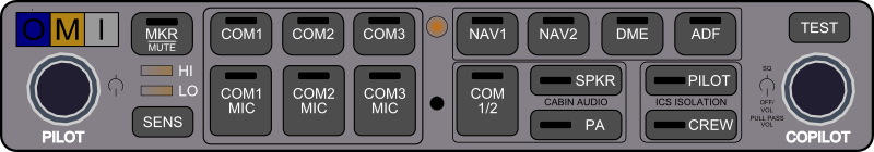 Audio Panel (Contemporary) by Startright - This is an Audio Panel used in General Aviation aircraft. It is used to turn on the sound for different avionics. The selections are Speaker, Off, or Headset. It also allows the pilot to control the brightness and audio for the marker beacons.  This unit also comes with a built-in intercom system.