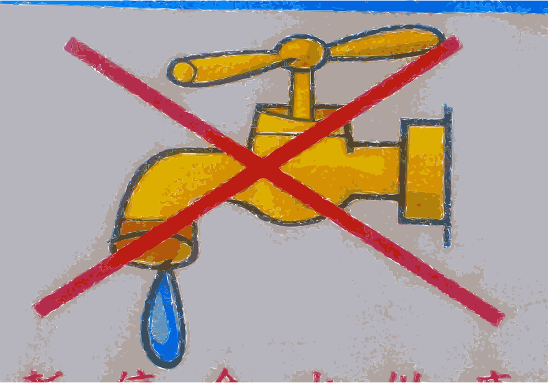 No Water or Water Use Prohibited Sign (Draught or Poison) by wanglizhong - Found sign to say cannot use the water. In the news in USA in California for draught and Toledo Ohio for contaminated water. Be careful. water
