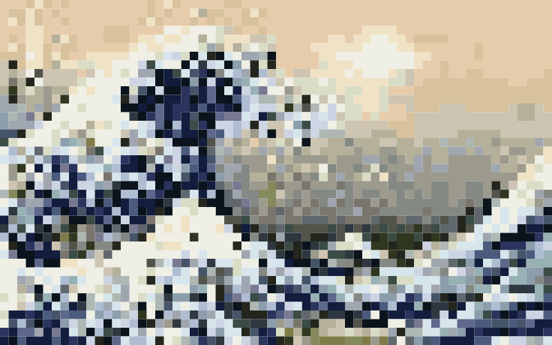 Hokusais Great Wave of Kanagawa Pixelized by wallpapergirl - I'm playing with a new style. Inspired by Pxlpeeps and other pixel artists using public domain images. Do you like it? Read more about Hokusai: https://en.wikipedia.org/wiki/Hokusai This public domain image comes from https://en.wikipedia.org/wiki/File:Great_Wave_off_Kanagawa2.jpg