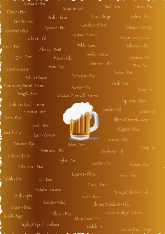 Birraaa! by zerocinquanta - A mug of beer surrounded by the word beer in many languages