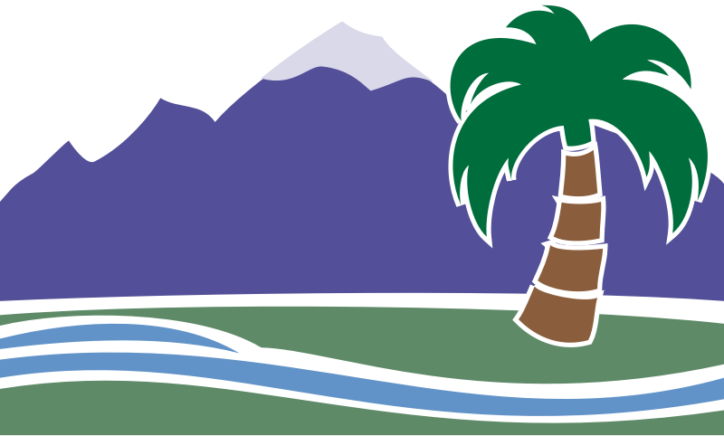 Desert Spa by bnsonger47 - Created as a basis for a marketing piece, this is a rendering of a desert spa showing the flowing water, mountain peak, and palm tree. It is reminiscent of an experience had in the southern portion of California.