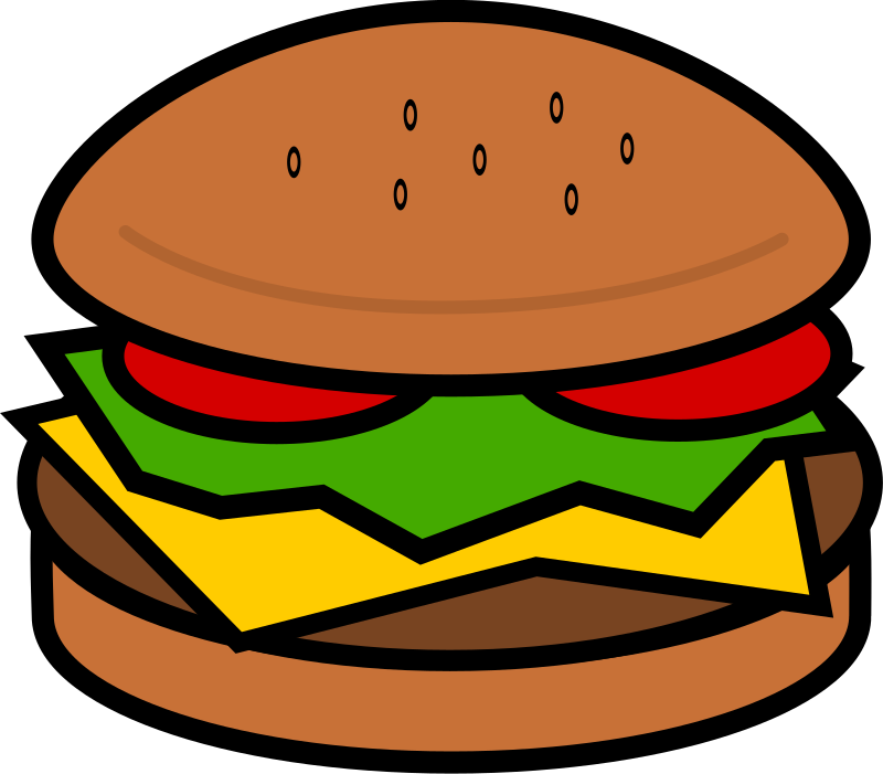 Hamburger by cwleonard - A hamburger with cheese (maybe that makes it a cheeseburger), lettuce, and tomato.