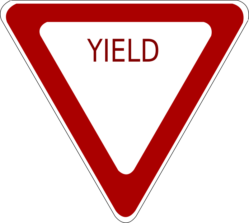 Yield Road Sign by schoolfreeware - Yield road sign.