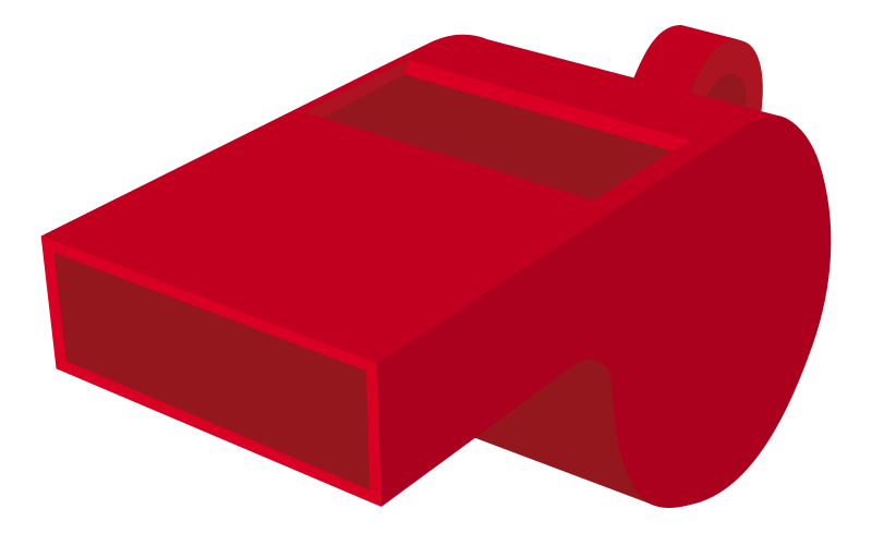 Whistle by worker - A red plastic whistle. (rounded corners)