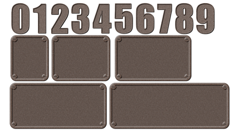 Metal Numbers and Backgrounds by gubrww2 - Industrial-looking metal numerals and backgrounds. Individual single digit numbers on a background will be uploaded after after this. This file is intended for users who will go on to edit images with their own sequence of digits. There are different size backgrounds for sequences of 1 to 5 digits.