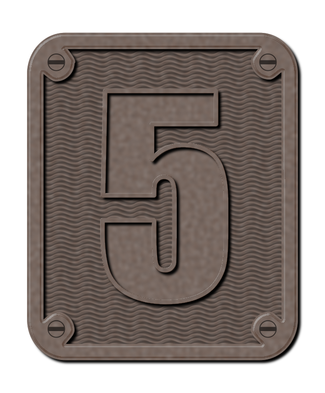 Metal Five by gubrww2 - An industrial-looking metal number five on a background.