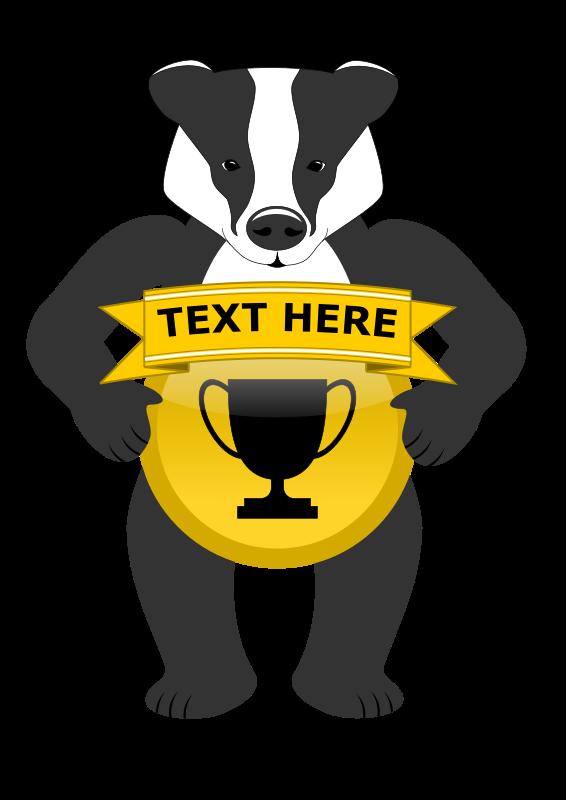 Clipart - Badge holding badger