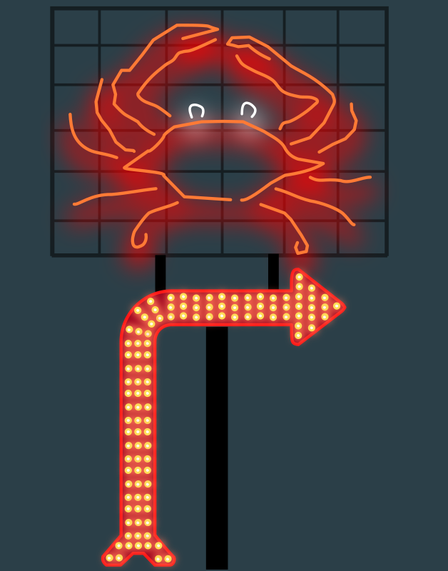 Animated Sign by gubrww2 - A road sign with a neon crab and an animated marquee arrow. Click image to view SVG. The animation is only tested in Chrome browser.