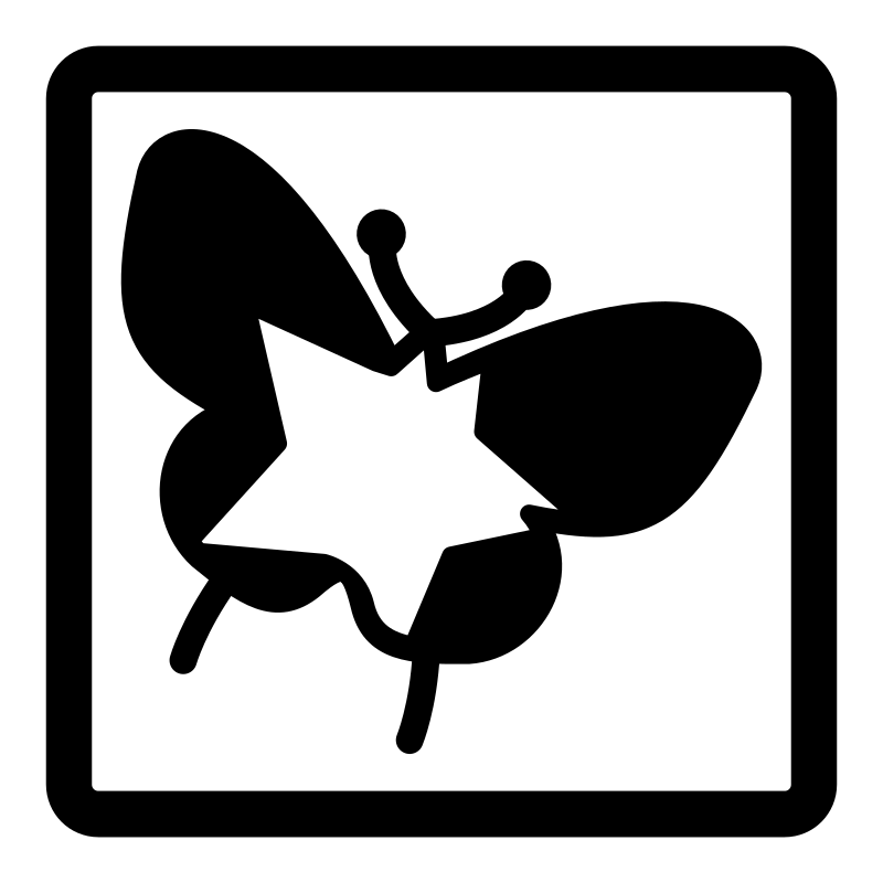 mono 001 star butterfly by dannya - Part of the Monochrome KDE icon theme.
