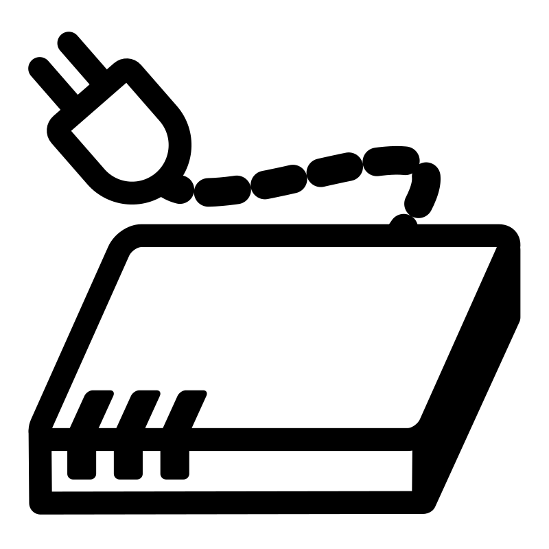 Clipart - mono modem: https://openclipart.org/detail/198001/mono-modem