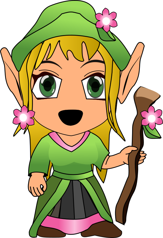 Taniael Chibi by Peileppe - A fantasy woman looking like an elf with a green outfit, holding a wooden cane.
