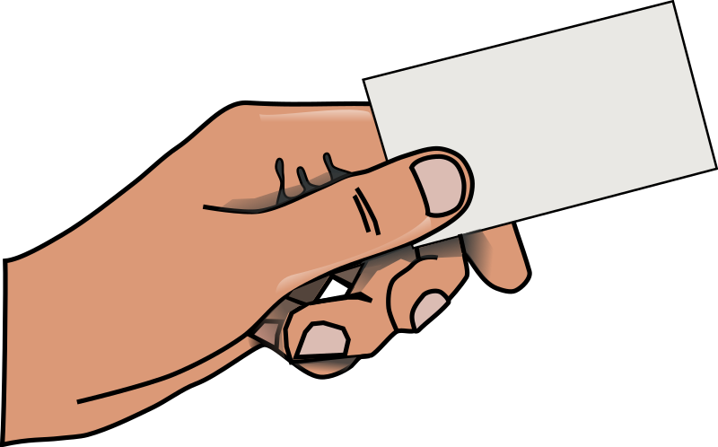 hand with card by rg1024 - A hand holding a blank business card.