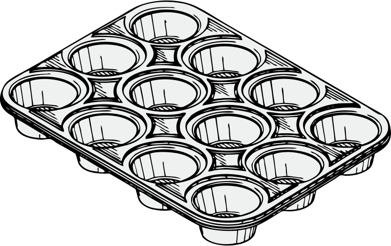 muffin tin by johnny_automatic - a muffin or cupcake baking tin from a  U.S. patent drawing