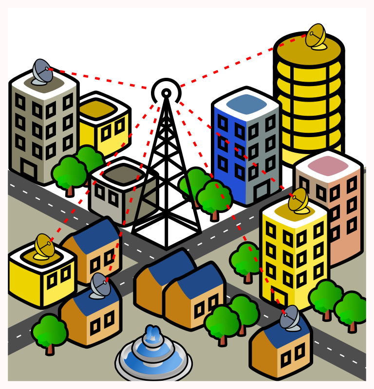 point to multipoint (wimax) scenario by danza - A naive city scene in a style similar to jcartier's one, and using most of his elements
