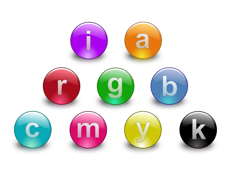 Web2.0 Multi Color Buttons by bktheman - Web2.0 style glossy buttons in multiple colors. Letters are editable in the SVG.