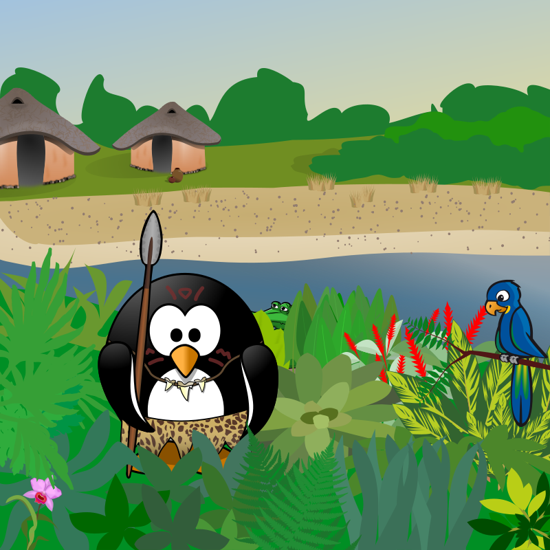 September calendar page: Friend or foe? by Moini - This penguin has come out of his village to find out if you're a friend. If you are, you'll be invited to share a cup of fermented fish drink with the villagers. Cheers!