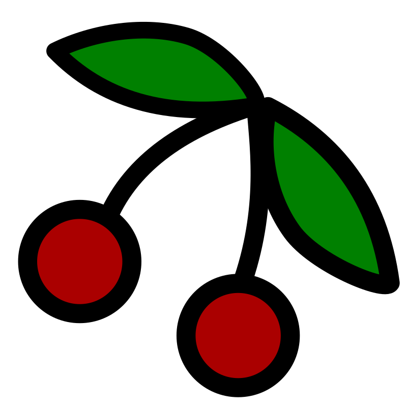 Cherries icon by pitr - A simple cherry image with a thick black contour.