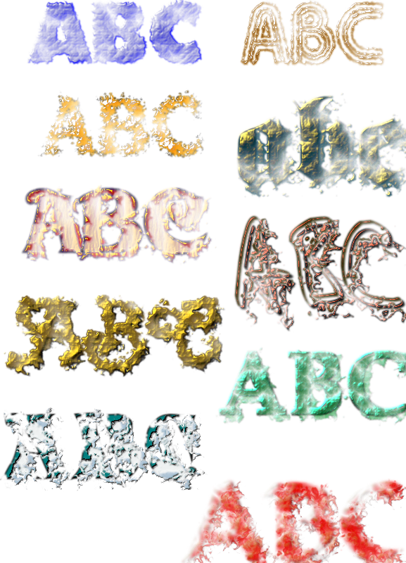 Ten Text Textures by ivan_louette - In fact my very first steps with Filter Effects.