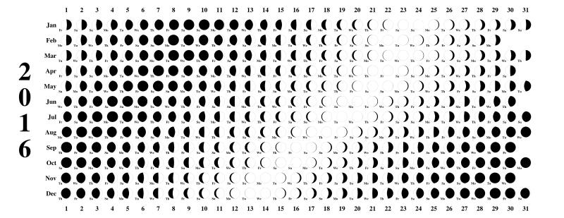 Clipart - Lunar Calendar 2016