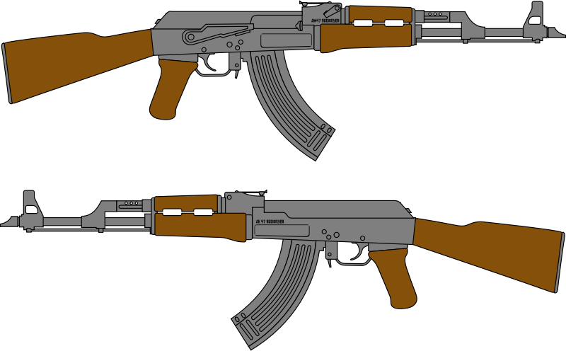 AK 47 Rifle Vector Drawing by radioflyer - Kalashnikov's automatic rifle model of year 1947. The AK-47 assault rifle designed by Mikhail Kalashnikov in the 7.62x39mm M43 cartridge. Simple vector drawing.