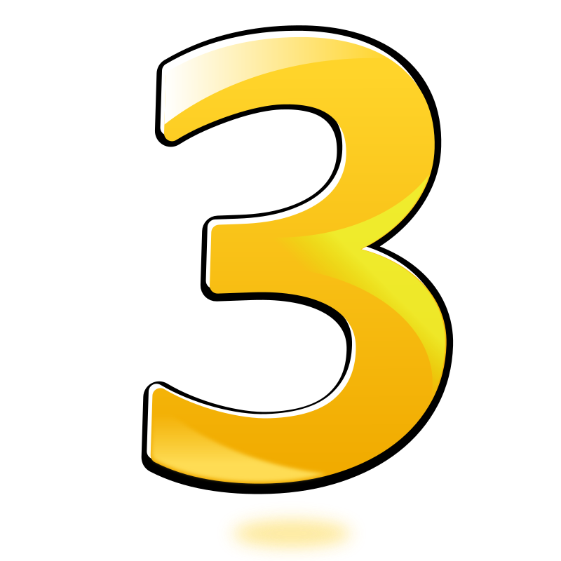 Clipart - Glossy Number : Three