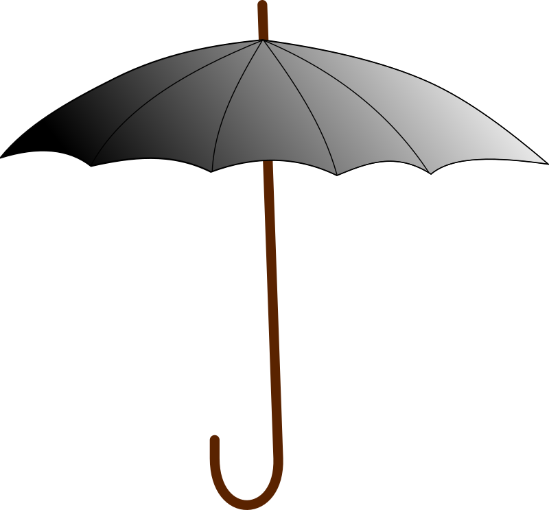 boring umbrella by linkageless - An umbrella knocked up in a couple of moments as a demo of inkscape .46 Has a grouped pair of canopy shapes that provide the gradient effect while masking the stick.