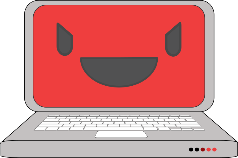 Evil computer laptop by qubodup this computer is smiling in an evil