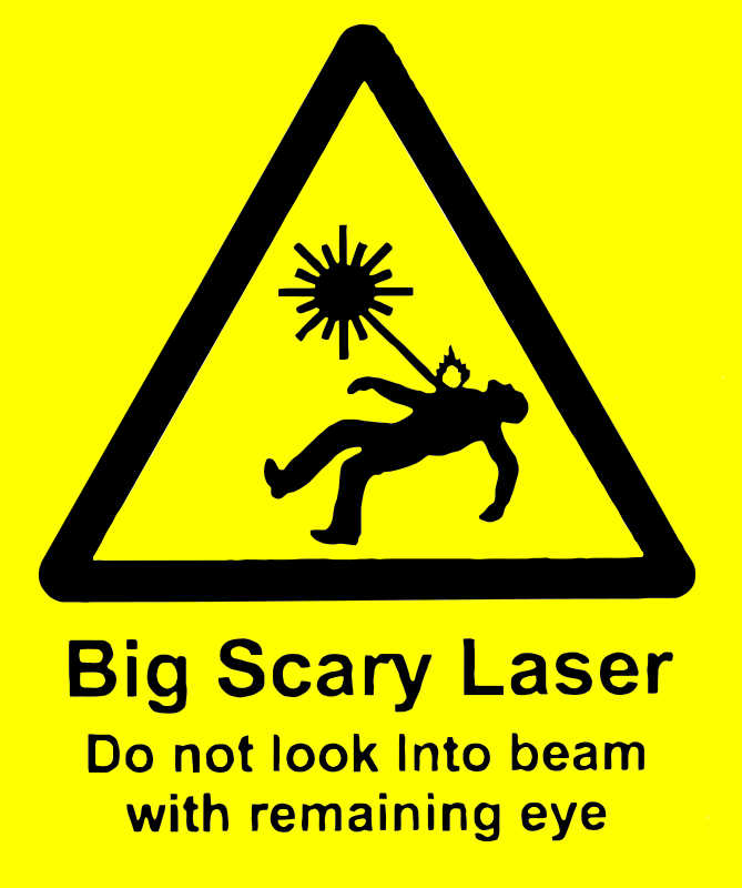 scary laser by wrywry - Dangerous laser warning sign.