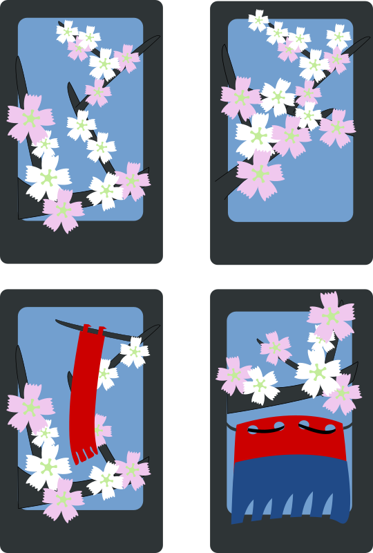 Hanafuda Sakura (March) by rg1024 - The four cards of Sakura (March).