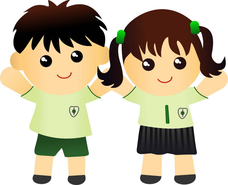 Clipart - Two Kids in school uniform