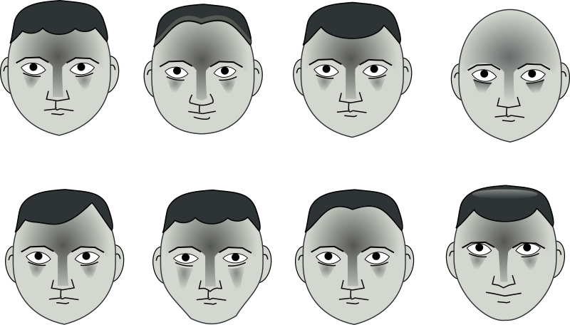 8 heads by rg1024 - A exercise: start with a basic head and then, made little variations.