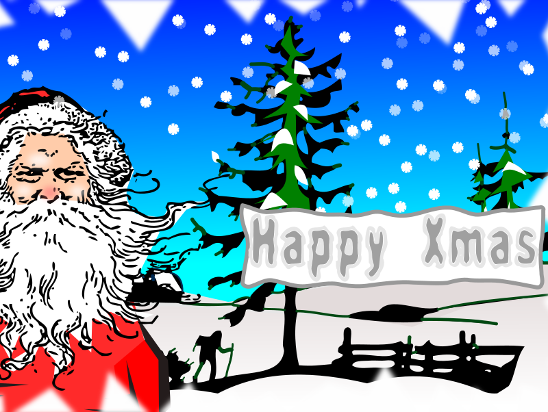 xmas postcard by Peileppe - Christmas postcard with Santa Claus, trees and snow.