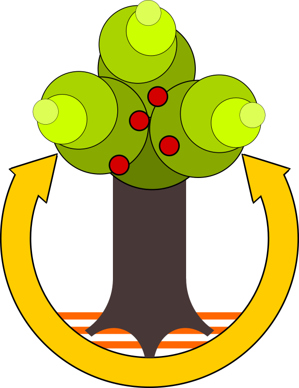 Save Environment by sheikh_tuhin - An apple tree with an arrow symbolizing the carbon cycle.