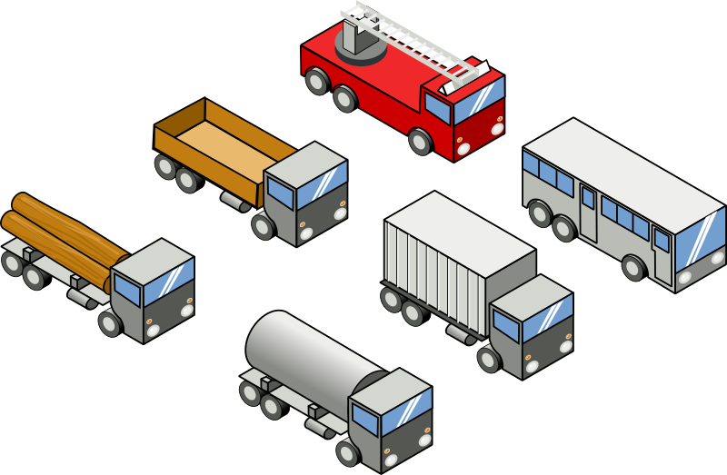 Six isometric vehicles by rg1024 - Six isometric vehicles: four trucks, a bus and a firefighter truck.