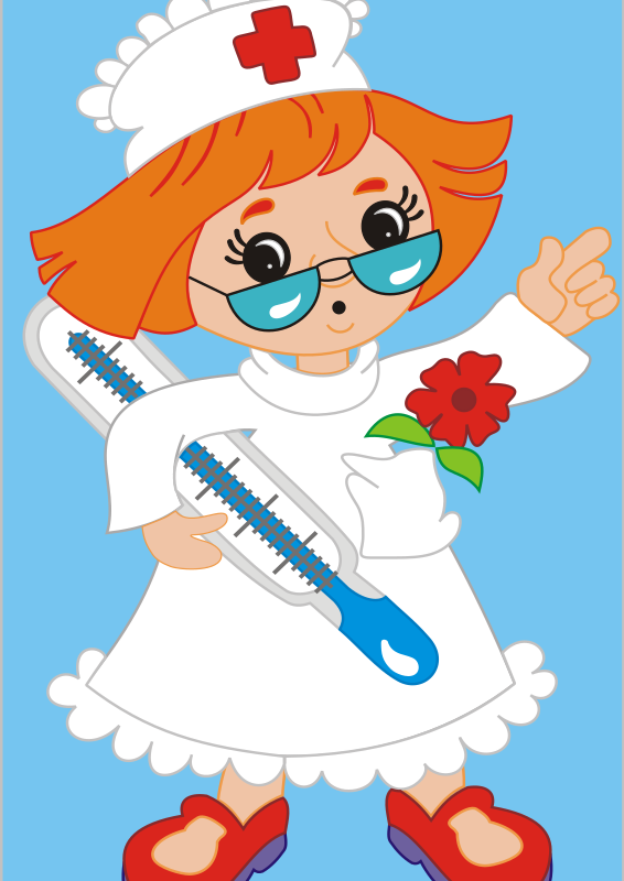 nurse by buggi - A cartoon nurse holding a thermometer.