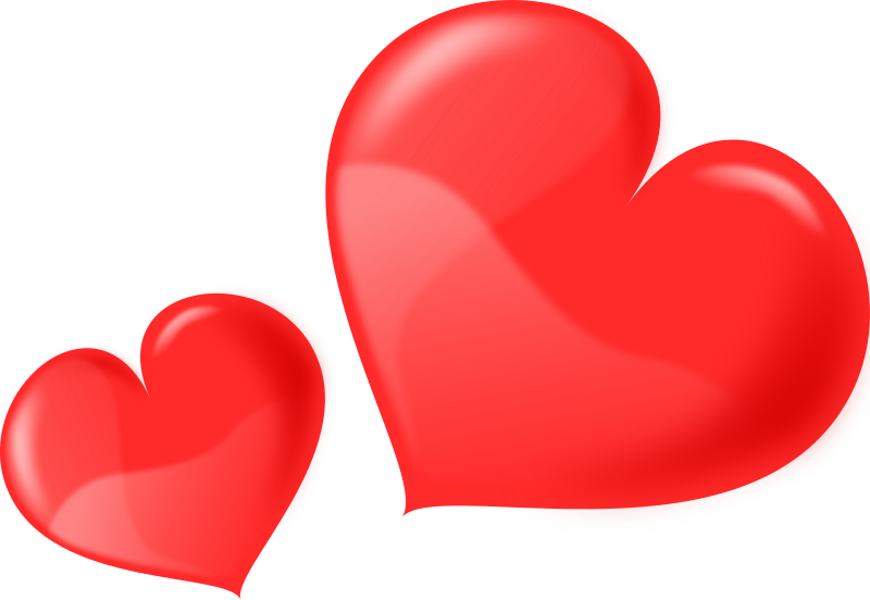 Heart - Glossy Two by kablam - 2 Glossy valentine's hearts. Created in Inkscape. visit my studio www.kablam.in