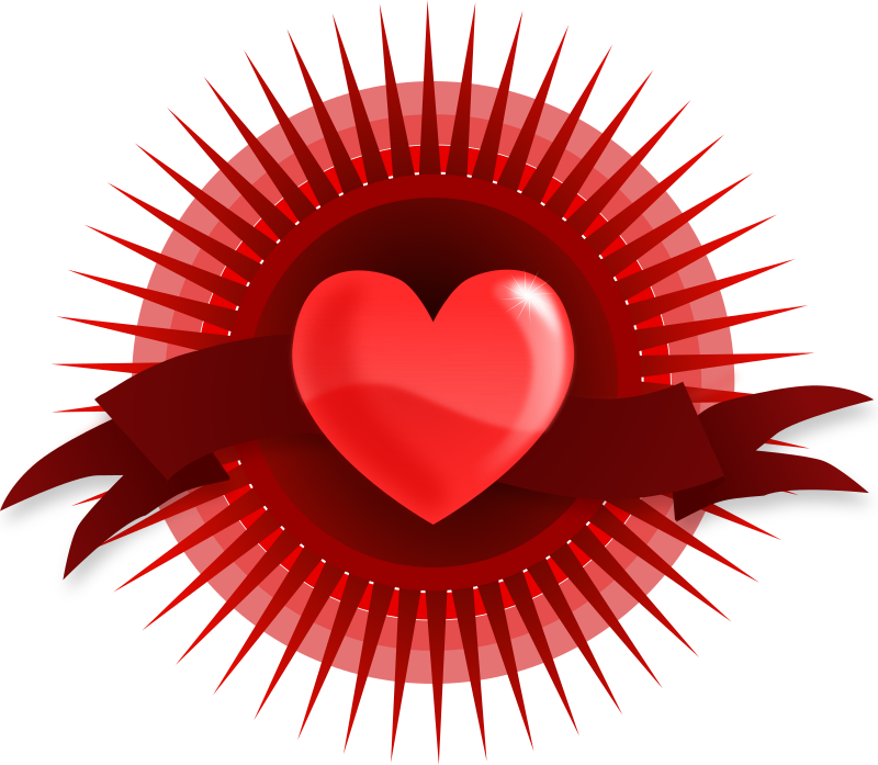 Heart with Rays and Banner by kablam - A stylised image, a heart with rays emerging from behind. Created in Inkscape. visit www.kablam.in