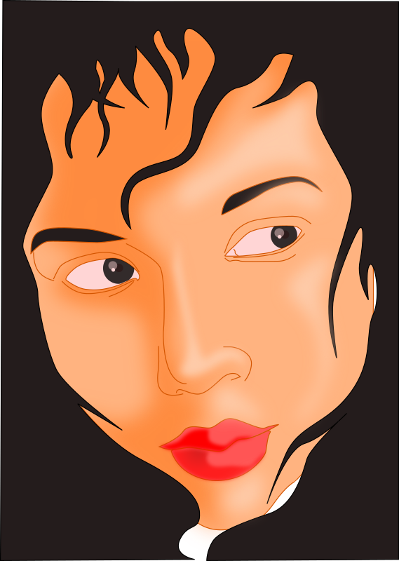 Clipart - Girl's face in black frame