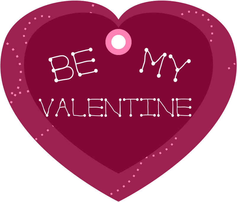 Be My Valentine Heart Shaped Gift Tag by pixabella - Be My Valentine Gift Tag