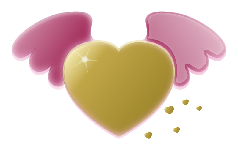 Gold Heart with Pink Wings by pixabella - Dreamy Gold Heart with Pink Wings and a little splash of small Golden Hearts.